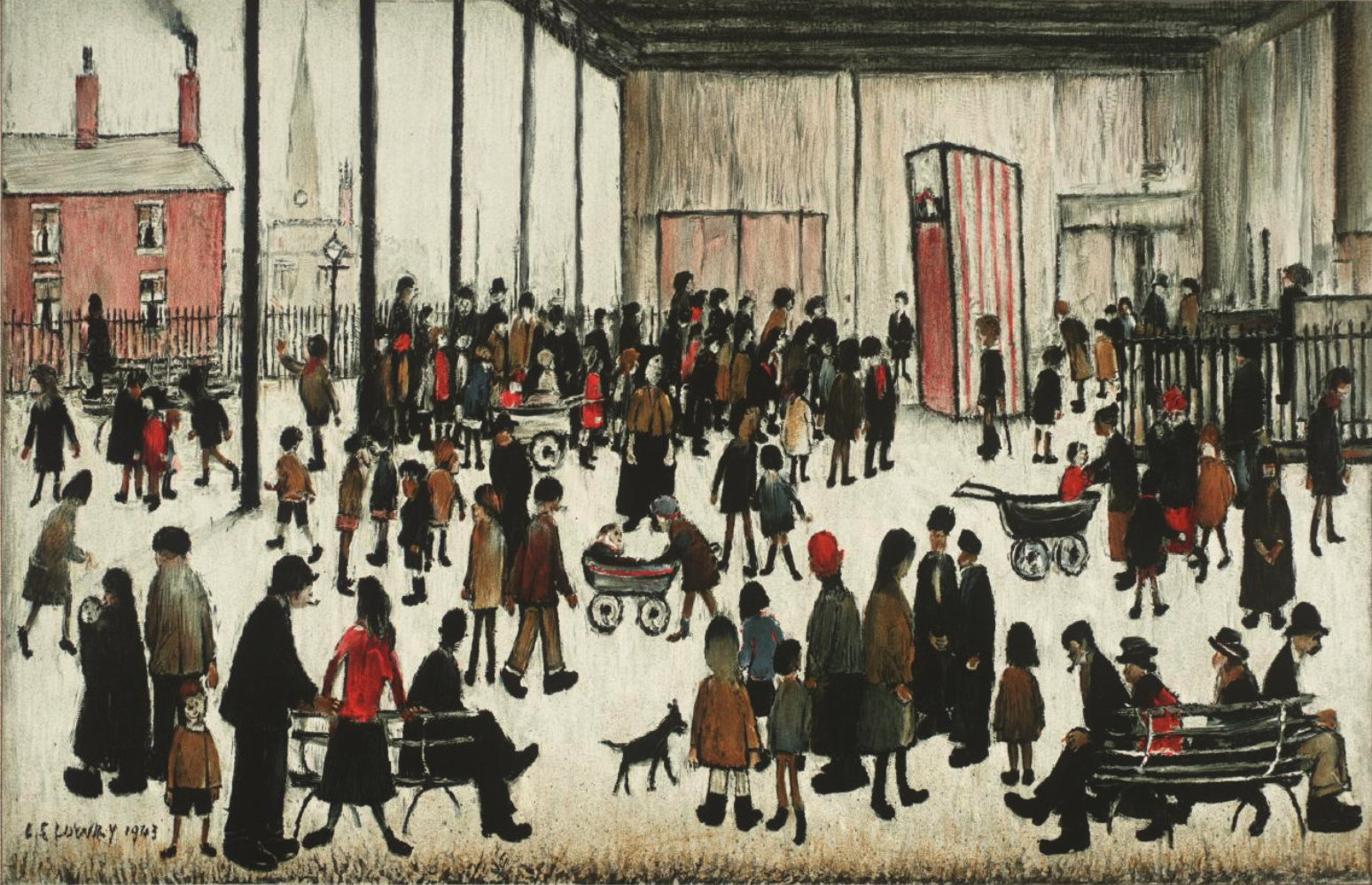 Punch and Judy (1943) by Laurence Stephen Lowry (1887 - 1976), English artist.