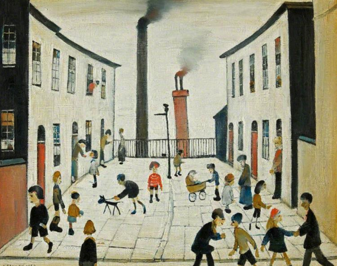 children playing, general coming and going in the terrace street of old Salford, England.