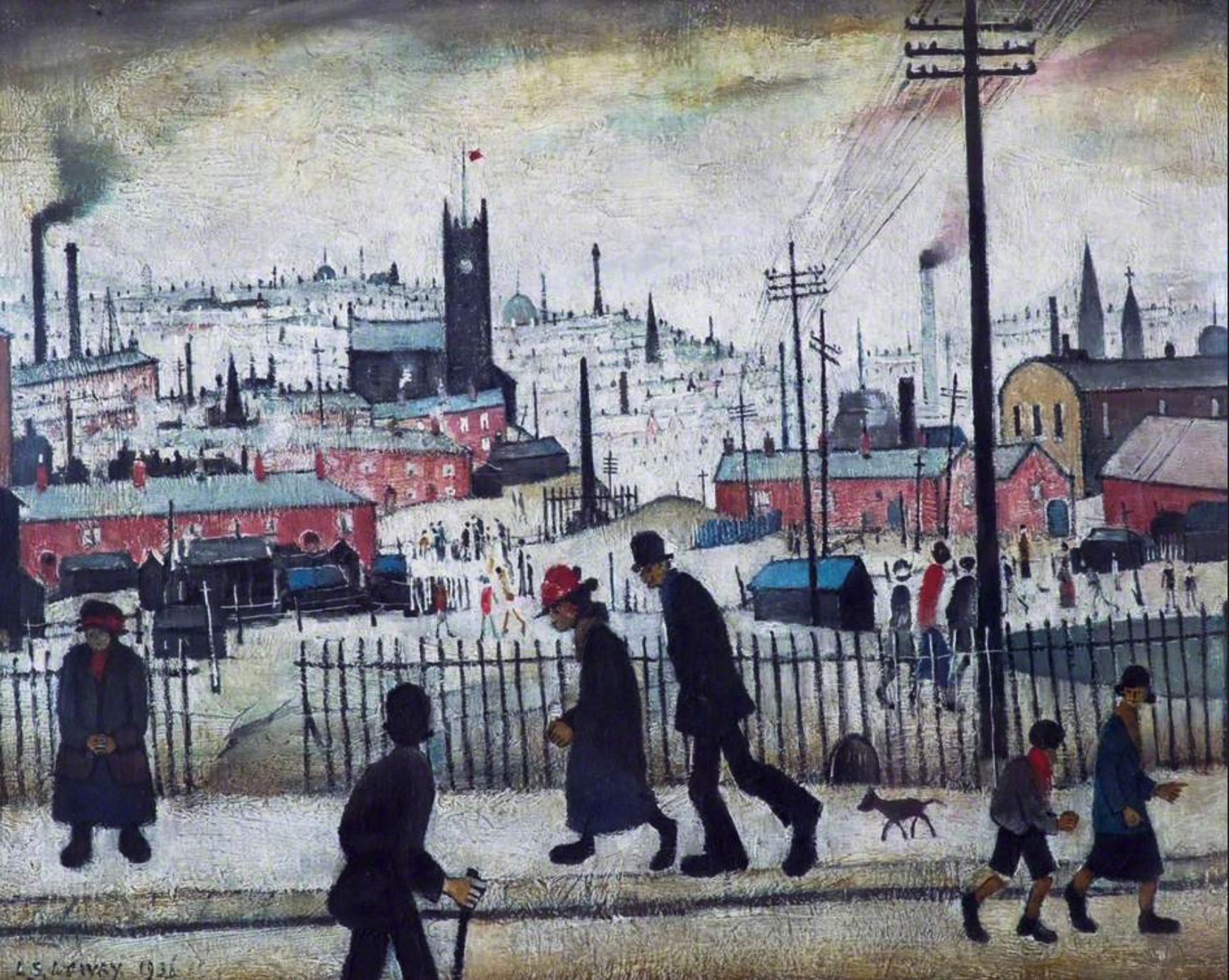 View of a Town (1936) by Laurence Stephen Lowry (1887 - 1976), English artist.