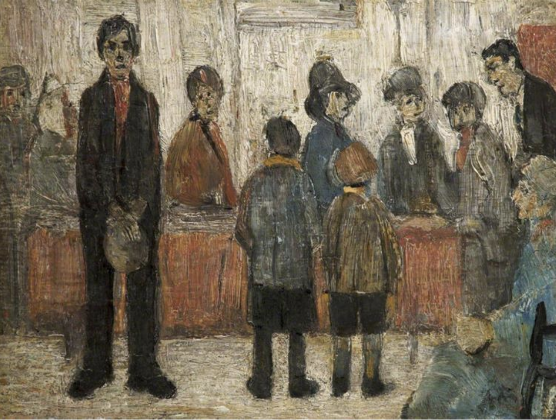 A Doctor's Waiting Room (1920) by Laurence Stephen Lowry (1887 - 1976), English artist.