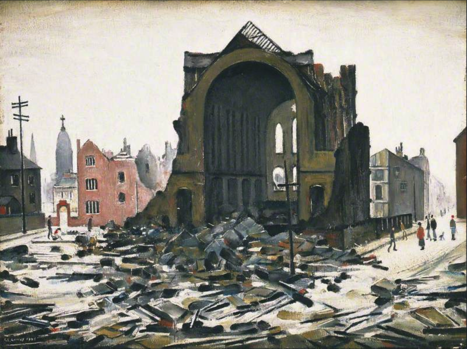 St Augustine's Church, Manchester (1945) by Laurence Stephen Lowry (1887 - 1976), English artist.