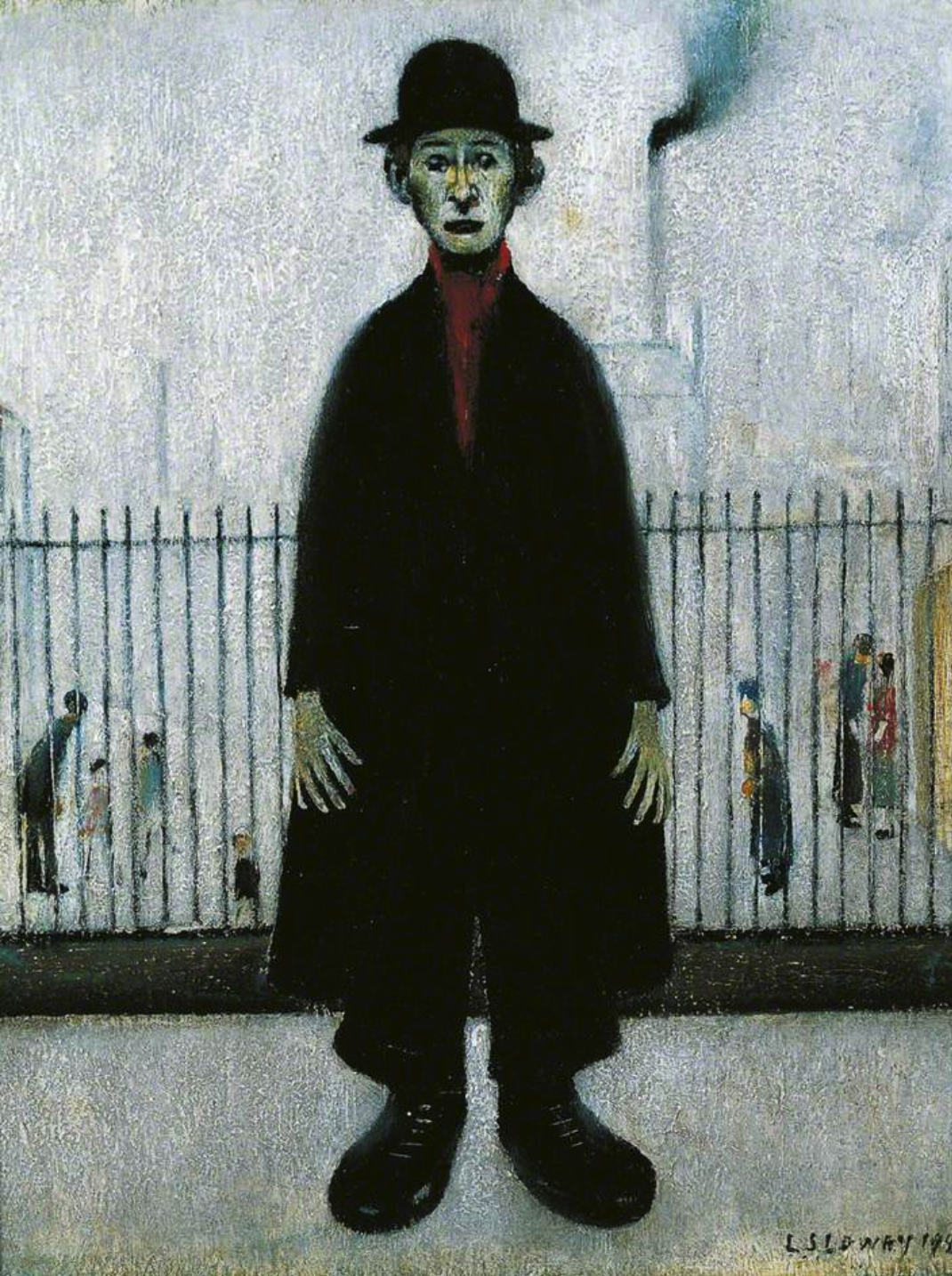 A Lancashire Cotton Worker (1944) by Laurence Stephen Lowry (1887 - 1976), English artist.