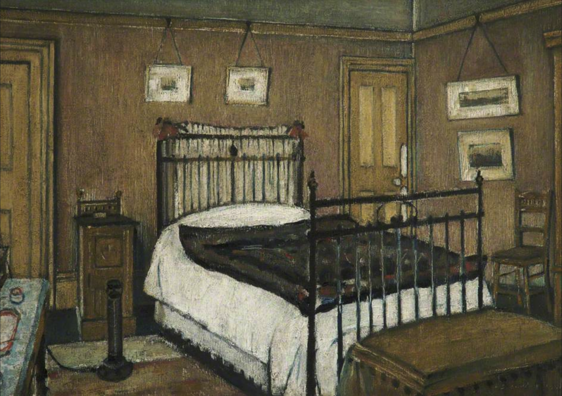 The Bedroom, Pendlebury (1940) by Laurence Stephen Lowry (1887 - 1976), English artist.