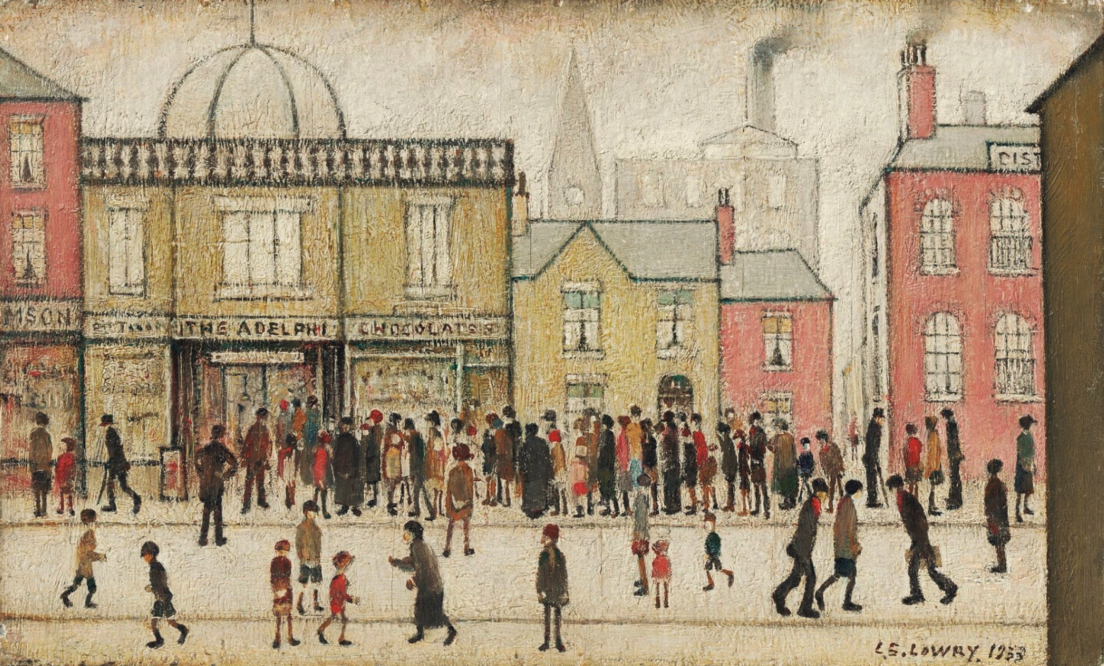 The Adelphi (Huddersfield, West Yorkshire) (1933) by Laurence Stephen Lowry (1887 - 1976), English artist.
