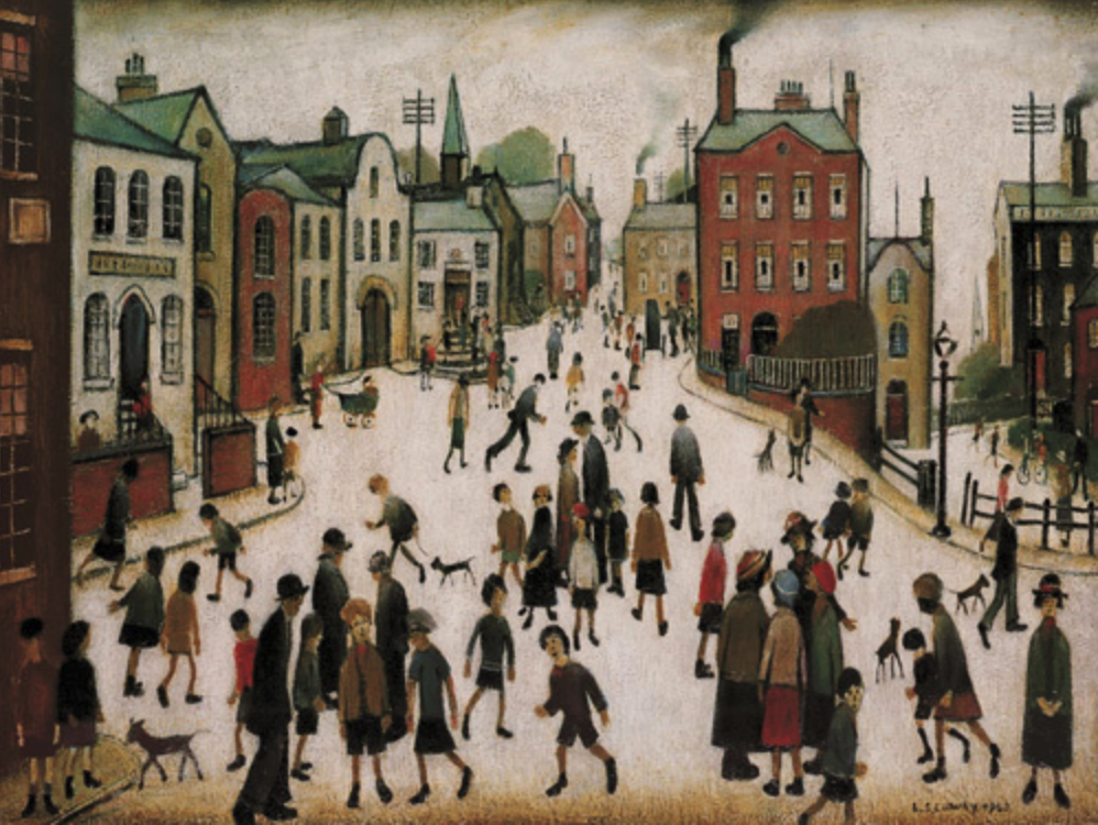 A Village Square (1969) by Laurence Stephen Lowry (1887 - 1976), English artist.