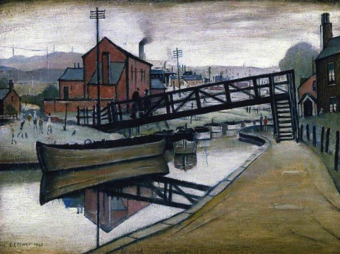 Barges on a Canal (1941) by Laurence Stephen Lowry (1887 - 1976), English artist.