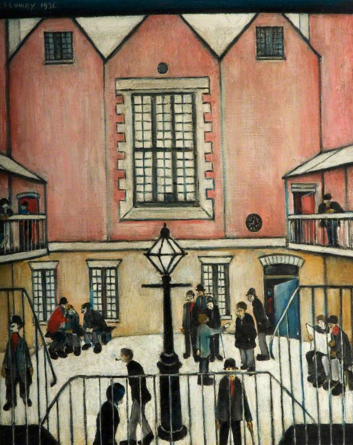 The Courtyard (1939) by Laurence Stephen Lowry (1887 - 1976), English artist.