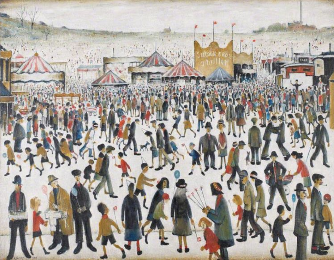 Lancashire Fair, Good Friday, Daisy Nook (Daisy Nook is a country park in Failsworth, Greater Manchester, England) (1946) by Laurence Stephen Lowry (1887 - 1976), English artist.