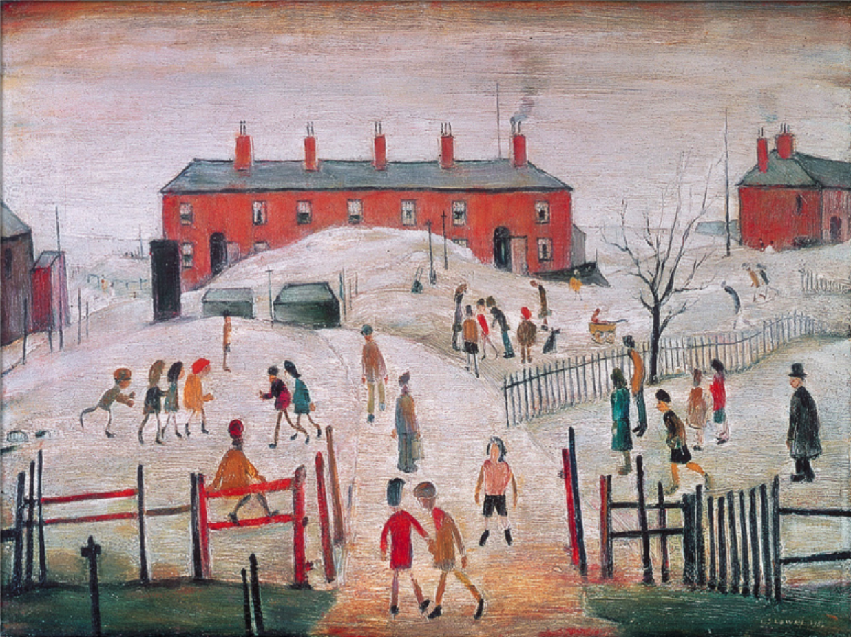 The Schoolyard (1956) by Laurence Stephen Lowry (1887 - 1976), English artist.