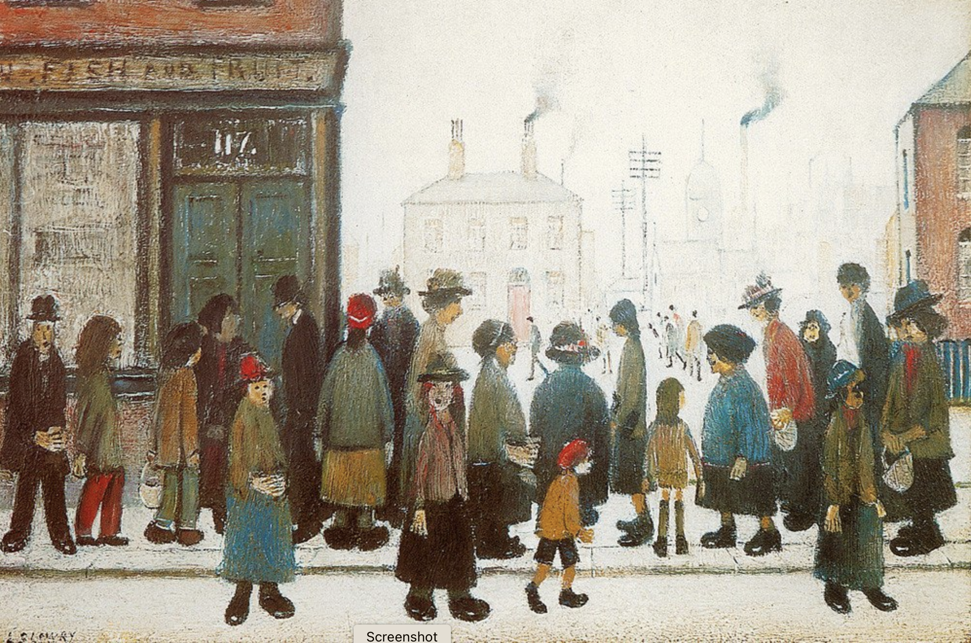 Waiting for the Shops to Open (1943) by Laurence Stephen Lowry (1887 - 1976), English artist.