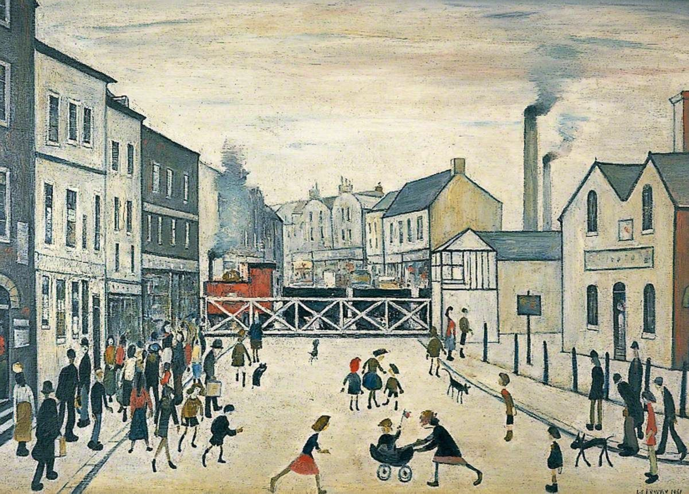 Level Crossing, Burton-upon-Trent (1961) by Laurence Stephen Lowry (1887 - 1976), English artist.