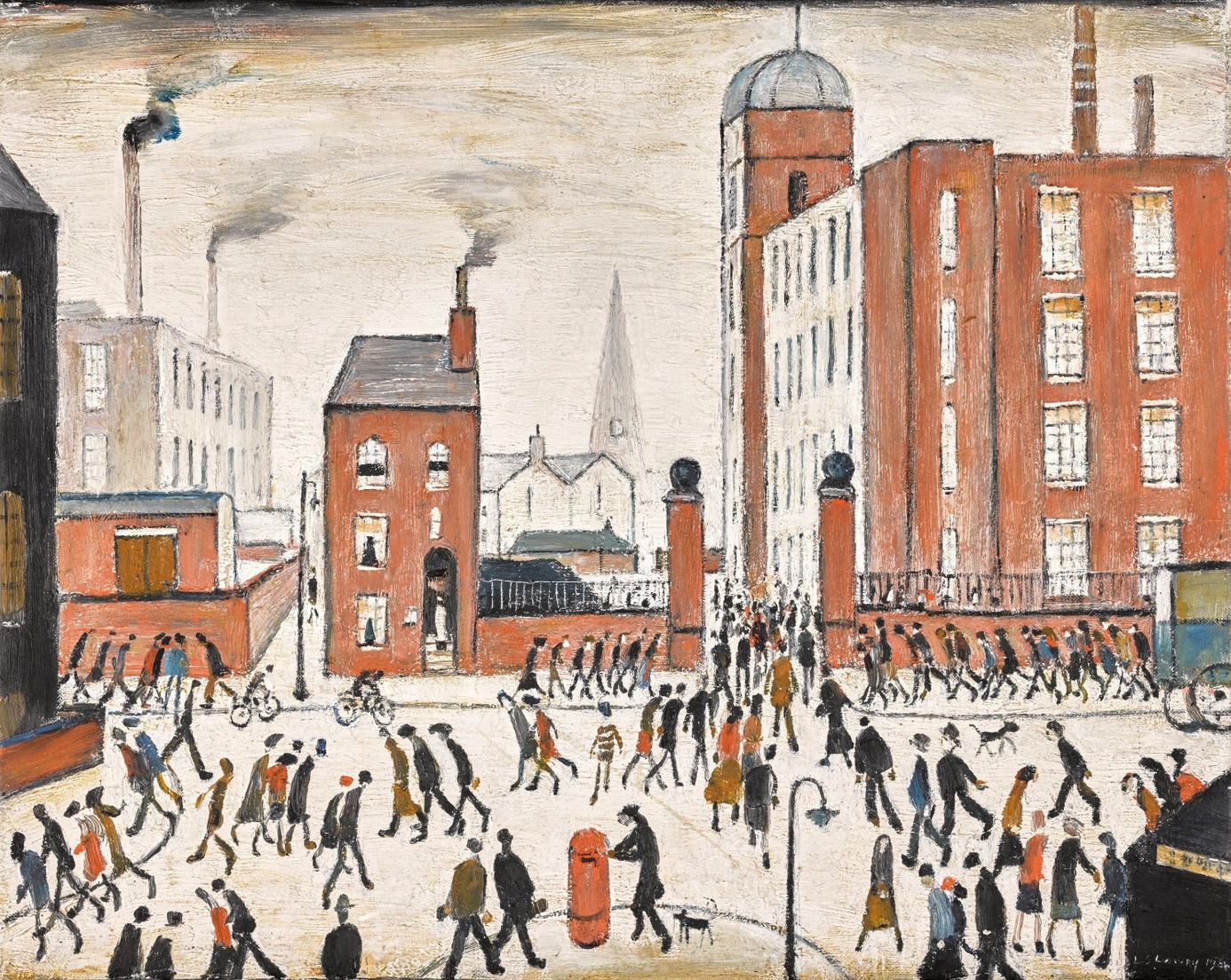 The Rush Hour (1964) by Laurence Stephen Lowry (1887 - 1976), English artist.