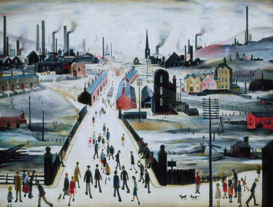The Canal Bridge (1949) by Laurence Stephen Lowry (1887 - 1976), English artist