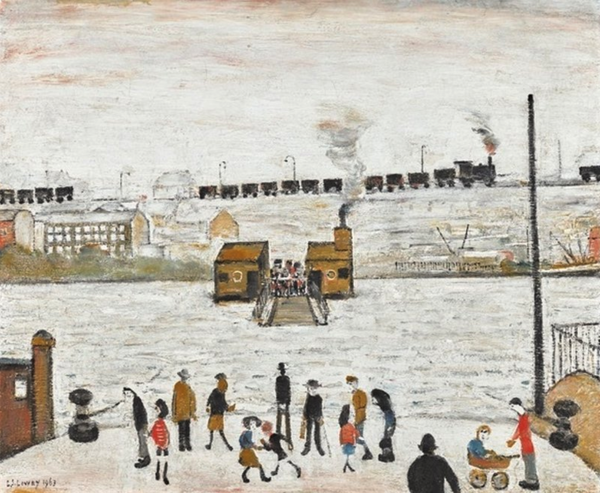 The Ferry at Blyth (1963) by Laurence Stephen Lowry (1887 - 1976), English artist.