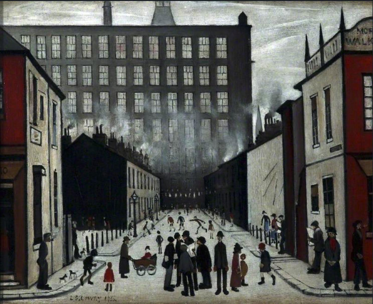 Street Scene (1935 ) by Laurence Stephen Lowry (1887 - 1976), English artist.