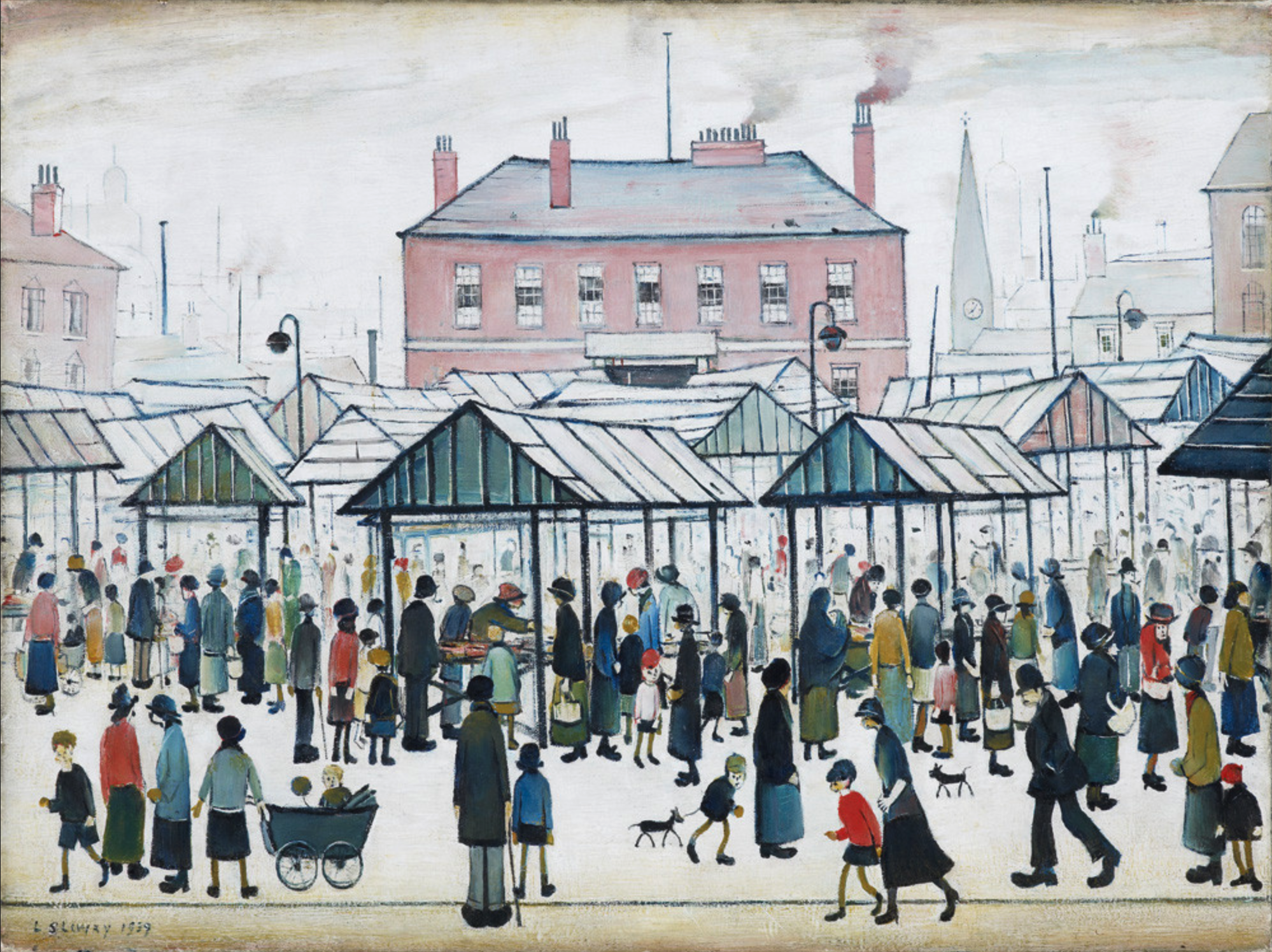 Market Scene, Northern Town (1939) by Laurence Stephen Lowry (1887 - 1976), English artist.