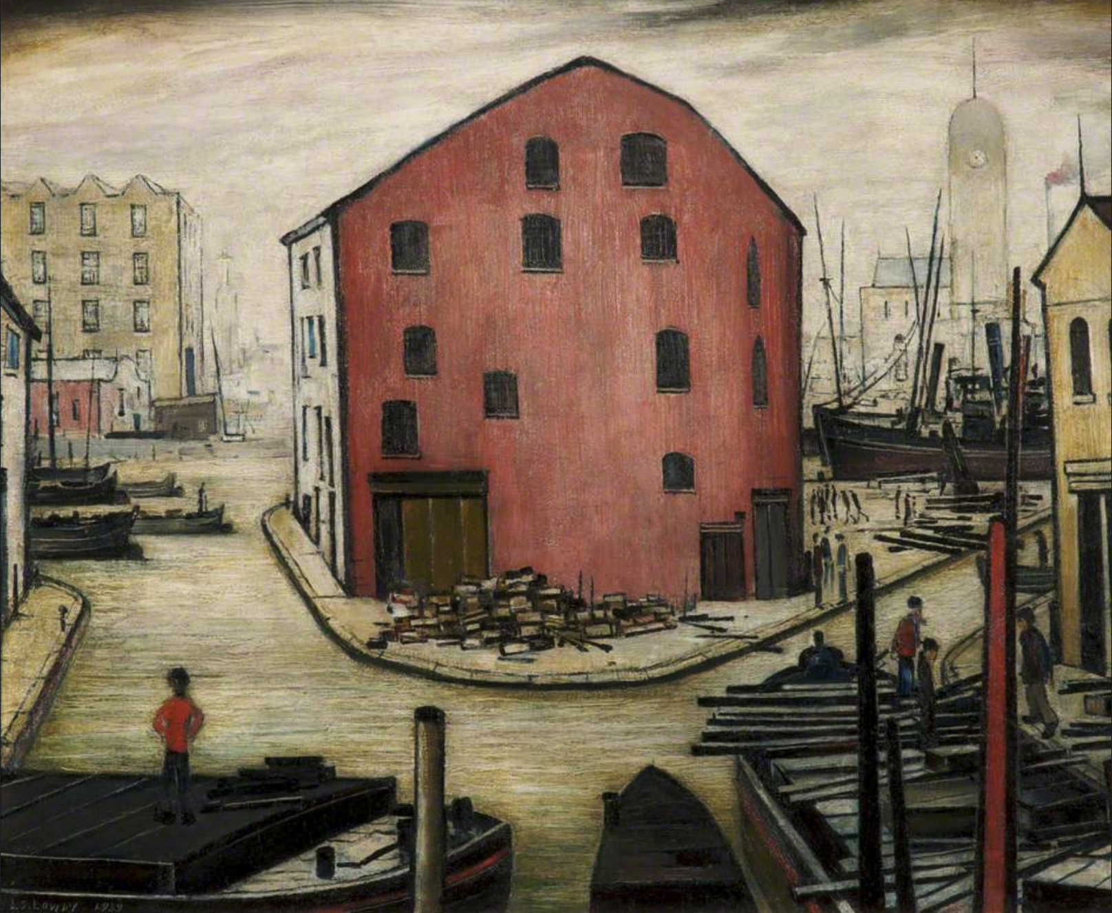 Canal Scene near Accrington (1939) by Laurence Stephen Lowry (1887 - 1976), English artist.