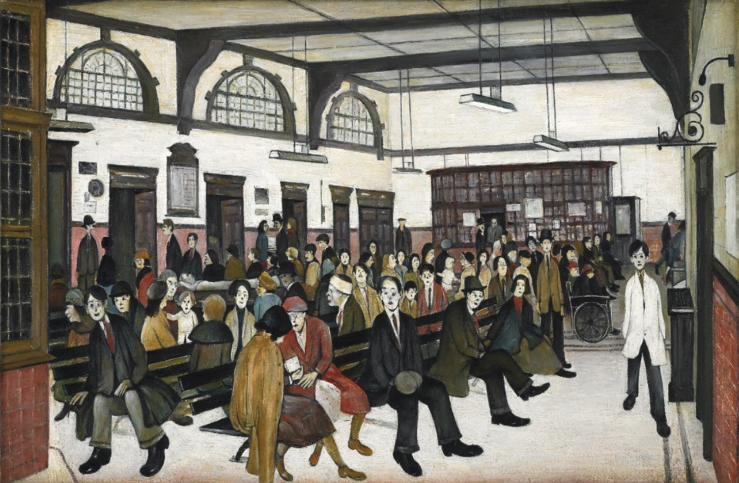 Ancoats Hospital Outpatients' Hall (1952) by Laurence Stephen Lowry (1887 - 1976), English artist.