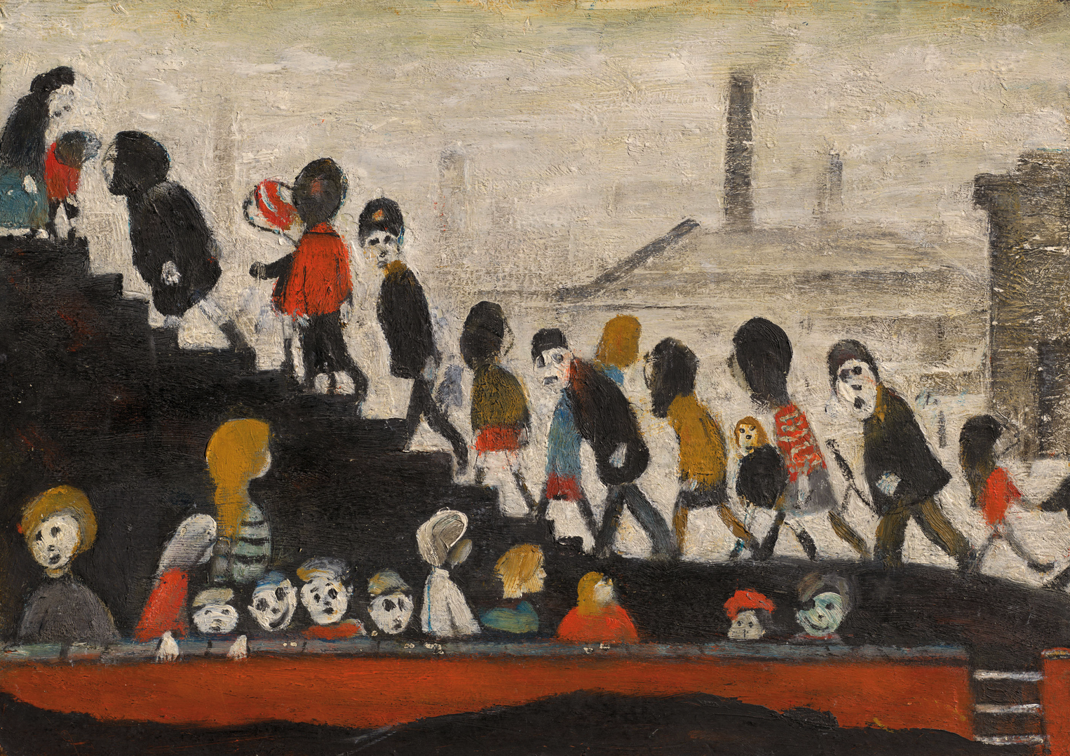 Children Walking up Steps (c1960s) by Laurence Stephen Lowry (1887 - 1976), English artist.