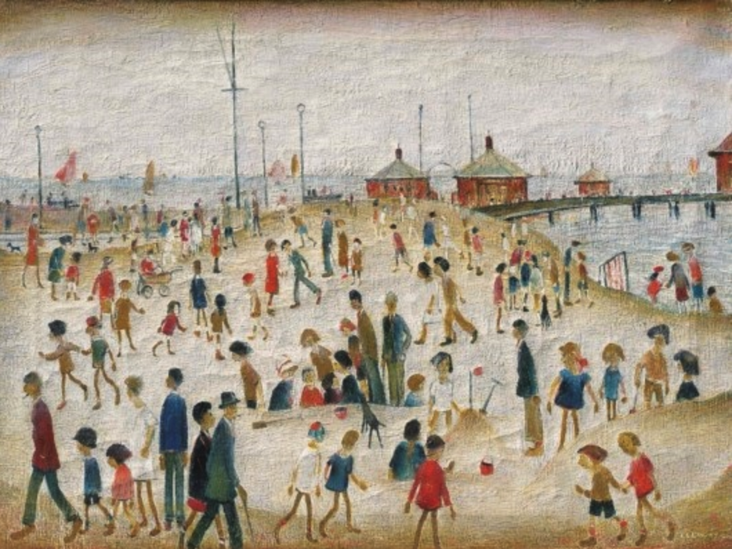 Lytham Pier (1945) by Laurence Stephen Lowry (1887 - 1976), English artist.