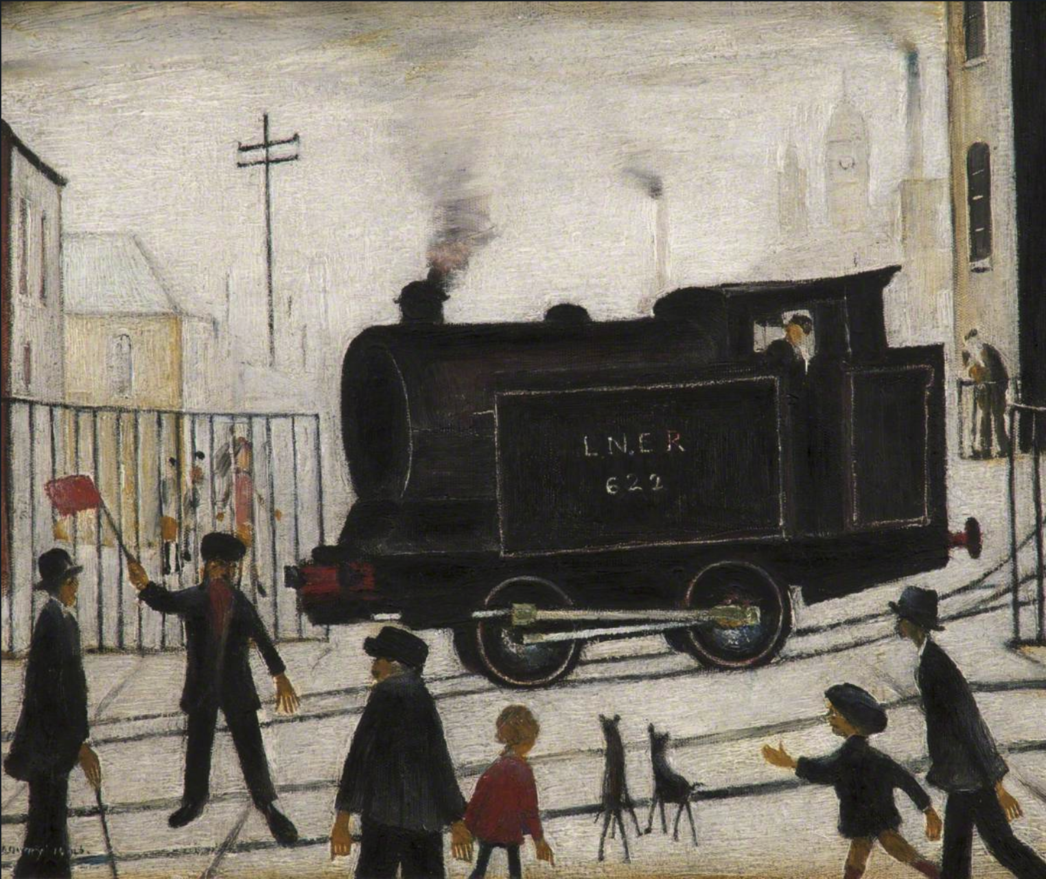 Level crossing (1946) by Laurence Stephen Lowry (1887 - 1976), English artist.
