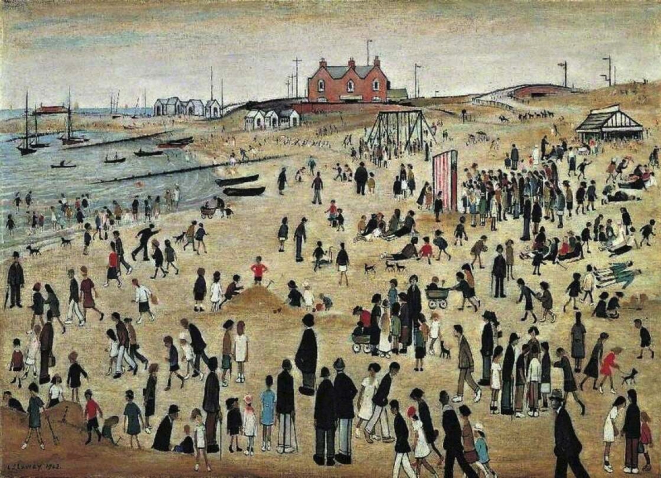 July, The Seaside (1943) by Laurence Stephen Lowry (1887 - 1976), English artist.