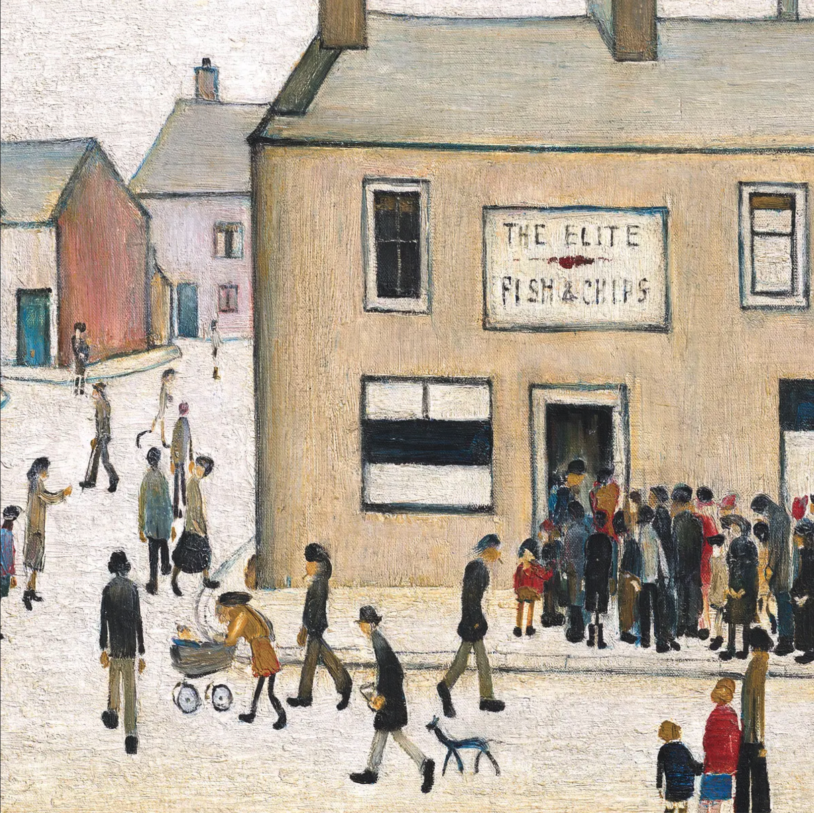 The Elite Fish & Chip Shop (1949) by Laurence Stephen Lowry (1887 - 1976), English artist.