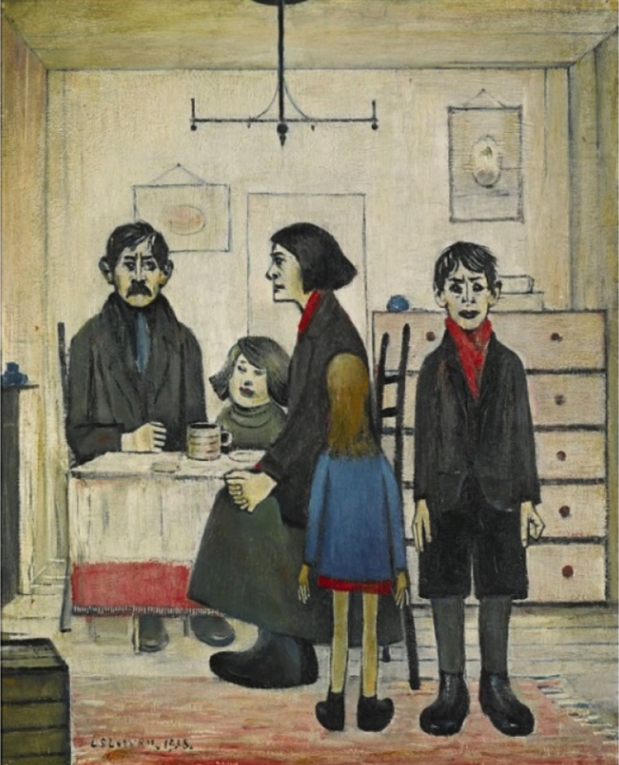 Family Group (1938) by Laurence Stephen Lowry (1887 - 1976), English artist.