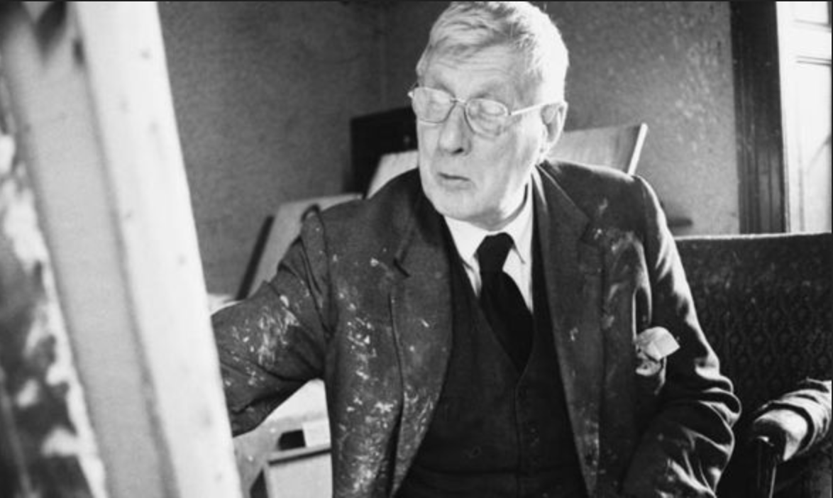 A photograph of Laurence Stephen Lowry at work (Date unknown) by Laurence Stephen Lowry (1887 - 1976), English artist.