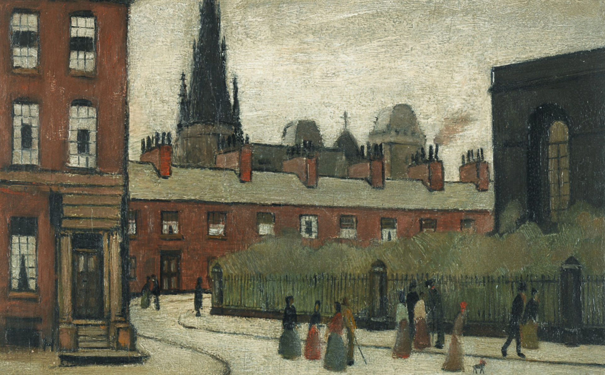 The Spire (1949) by Laurence Stephen Lowry (1887 - 1976), English artist.The Spire (1949) by Laurence Stephen Lowry (1887 - 1976), English artist.The Spire (1949) by Laurence Stephen Lowry (1887 - 1976), English artist.