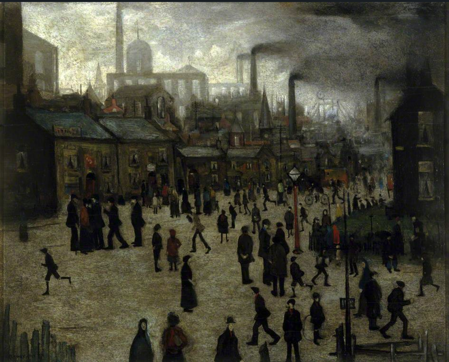 A Manufacturing Town (1922) by Laurence Stephen Lowry (1887 - 1976), English artist.