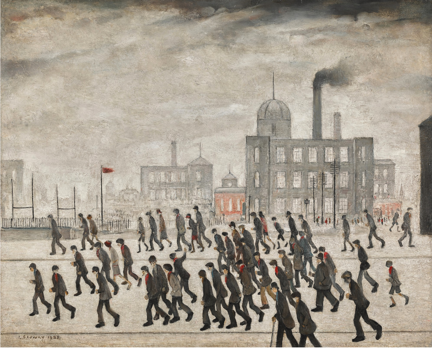 Going to the Match (1928) by Laurence Stephen Lowry (1887 - 1976), English artist.