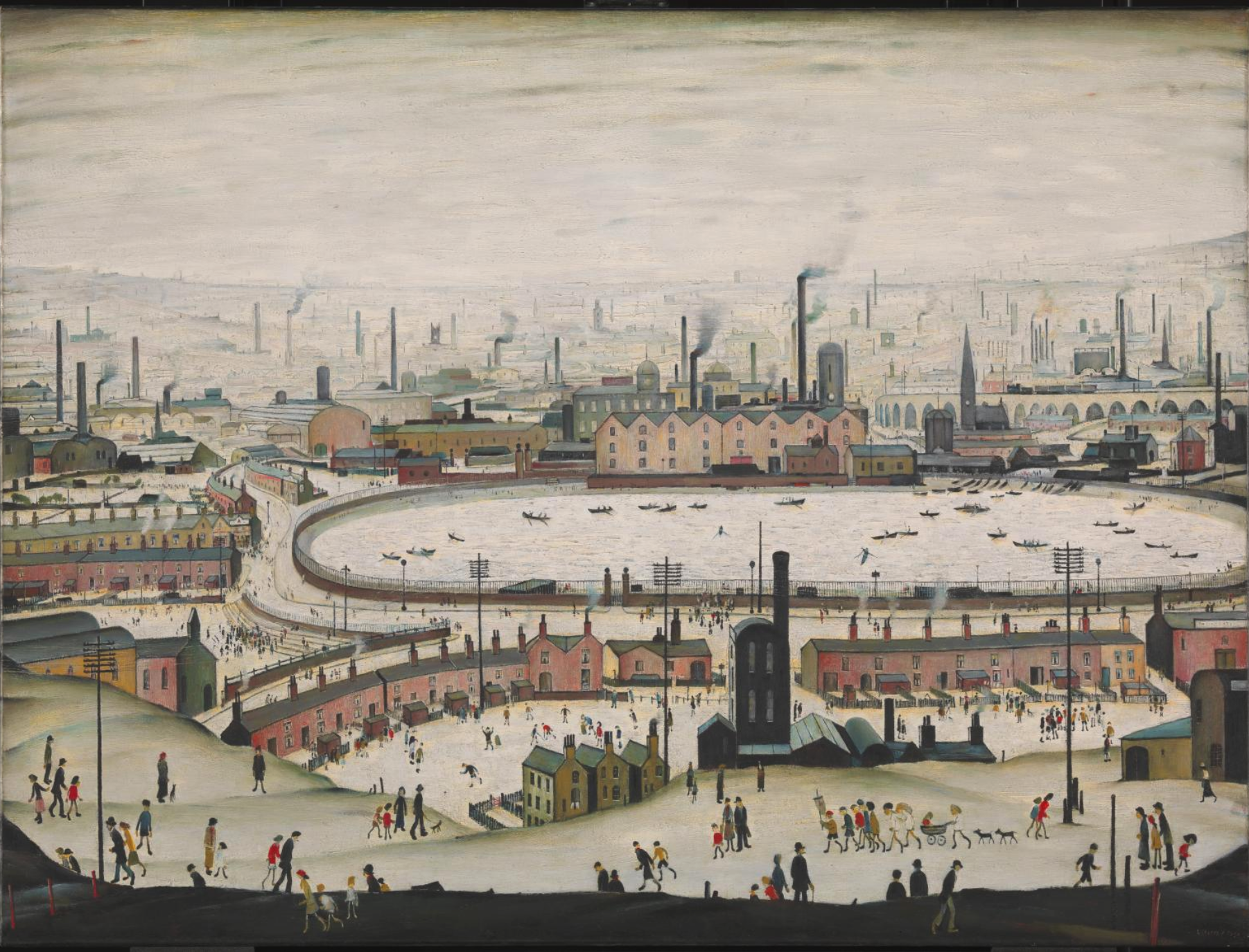The Pond (1950) by Laurence Stephen Lowry (1887 - 1976), English artist.