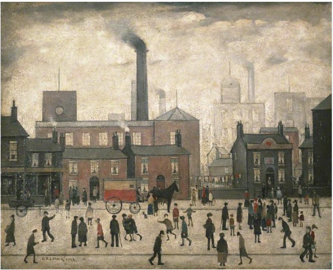 A primitive cityscape background of red brick industrial mills and a large chimney. Foreground shows folk coming and going after finishing their working day.