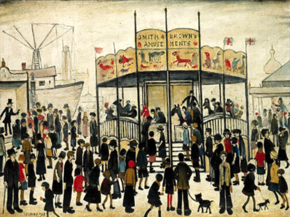 A Fairground (1938) by Laurence Stephen Lowry (1887 - 1976), English artist.
